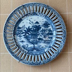 Chinoiserie/Asian Blue & White Pagoda Plate